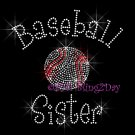 Baseball Sister - C Rhinestone Iron on Transfer Hot Fix Bling Sports - DIY