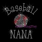 Baseball NANA - C Rhinestone Iron on Transfer Hot Fix Bling Sports - DIY