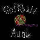 Softball Aunt - C Rhinestone Iron on Transfer Hot Fix Bling Sports - DIY