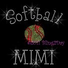 Softball MIMI - C Rhinestone Iron on Transfer Hot Fix Bling Sports - DIY