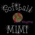 Softball MIMI - C Rhinestone Iron on Transfer Hot Fix Bling Sports - DIY