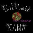 Softball NANA - C Rhinestone Iron on Transfer Hot Fix Bling Sports - DIY