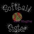 Softball Sister - C Rhinestone Iron on Transfer Hot Fix Bling Sports - DIY