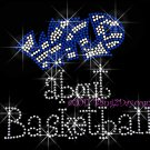 Wild about Basketball - ROYAL BLUE Rhinestone Iron on Transfer Hot Fix Bling School Sport Mom - DIY