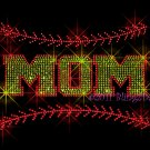 MOM - Softball Stitching Rhinestone Iron on Transfer Hot Fix Bling Sports Stitch - DIY