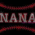 NANA - Baseball Stitching Rhinestone Iron on Transfer Hot Fix Bling Sports Stitch - DIY