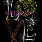 Large LOVE Softball Bat Rhinestone Iron on Transfer Sport Mom