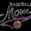 MOM Banner Tail - Baseball Mom - Rhinestone Iron on Transfer Hot Fix Bling School Sports - DIY