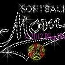 MOM Banner Tail - Softball Mom - Rhinestone Iron on Transfer Hot Fix Bling School Sports - DIY