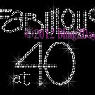 Fabulous at 40 - Forty - Rhinestone Iron on Transfer Hot Fix Bling - DIY