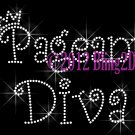 Pageant Diva - Rhinestone Iron on Transfer Hot Fix Bling Applique Royal Crown Queen - DIY
