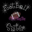Football Sister - C - Iron on Rhinestone Transfer Hot Fix Bling Sports - DIY