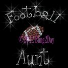 Football Aunt - C - Iron on Rhinestone Transfer Hot Fix Bling Sports - DIY
