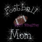 Football Mom - C - Iron on Rhinestone Transfer Hot Fix Bling Sports - DIY