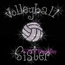 Volleyball Sister - C - Iron on Rhinestone Transfer Hot Fix Bling Sports - DIY