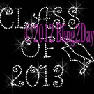 Class of 2013 - Iron on Rhinestone Transfer Hot Fix Bling Sport School - DIY