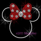 Minnie Mouse with Red Polka Dot Bow Rhinestone Iron on Transfer Hot Fix Bling Mom Kids - DIY