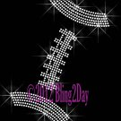 Football Lace - Clear Outline - Iron on Rhinestone Transfer Hot Fix Bling Sports - DIY
