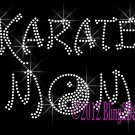 Karate Mom - Yin and Yang Symbol - Iron on Rhinestone Transfer Hot Fix Bling Sports - DIY