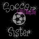 Soccer Sister - C Rhinestone Iron on Transfer Hot Fix Bling Sports - DIY