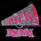Cheer Megaphone Neon Pink Mom - Rhinestone Iron on Transfer Hot Fix Bling Sports - DIY