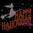 Happy Halloween - Flying Witch on Broom Stick - Iron on Rhinestone Transfer Hot Fix Bling - DIY