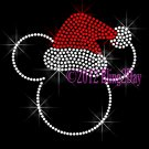 Christmas Mickey RED Santa Hat Rhinestone Iron on Transfer Hot Fix Bling Mouse Mom Kids - DIY