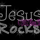Jesus Rocks - CLEAR - Rhinestone Iron on Transfer Hot Fix Bling Christmas Religion - DIY