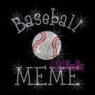Baseball MEME - C Rhinestone Iron on Transfer Hot Fix Bling Sports - DIY