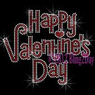 Happy Valentine's Day - Rhinestone Iron on Transfer Hot Fix Bling Heart - DIY