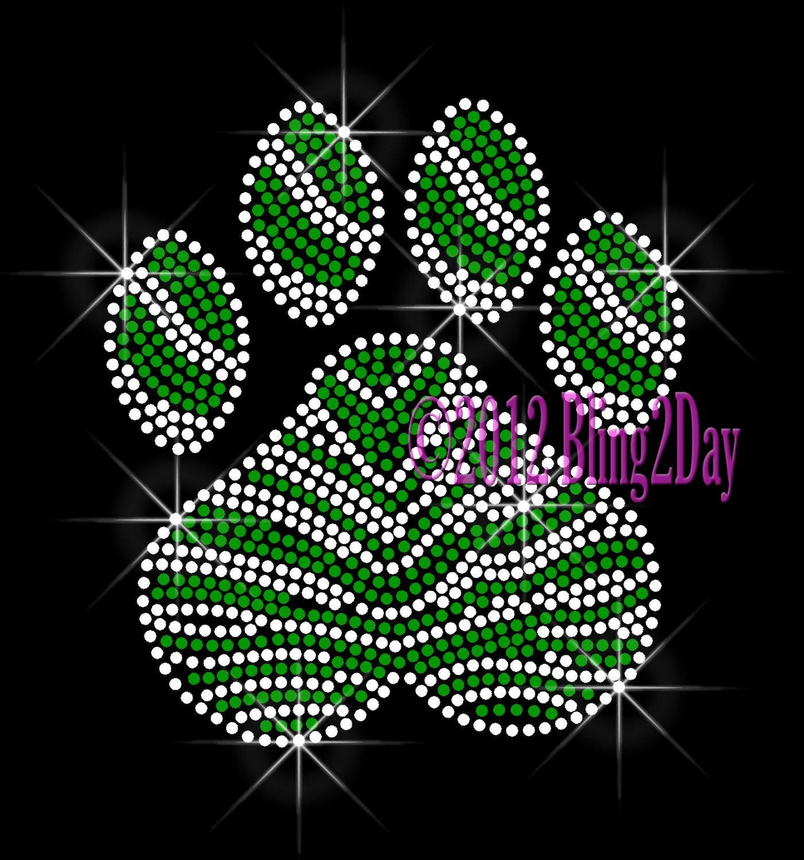 (L) Zebra Green Paw Print Rhinestone Iron on Transfer Hot Fix Bling School Mascot - DIY