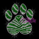 (L) Zebra Green Paw Print Rhinestone Iron on Transfer Hot Fix Bling School Mascot - DIY