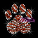 (L) Zebra Orange Paw Print Rhinestone Iron on Transfer Hot Fix Bling Mascot Mom - DIY