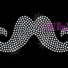 (M) Clear Mustache - Rhinestone Iron on Transfer Hot Fix Bling Cancer - DIY