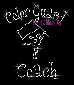 Color Guard Coach - C Rhinestone Iron on Transfer Hot Fix Bling Sports - DIY