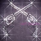 Crossed Dual Guns Rhinestone Iron on Transfer Hot Fix Bling Western - DIY