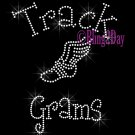 Track Grams - C - Rhinestone Iron on Transfer Hot Fix Bling School Sport - DIY
