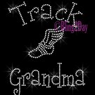 Track Grandma - C - Rhinestone Iron on Transfer Hot Fix Bling School Sport - DIY