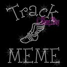 Track MEME - C - Rhinestone Iron on Transfer Hot Fix Bling School Sport - DIY
