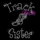 Track Sister - C - Rhinestone Iron on Transfer Hot Fix Bling School Sport - DIY