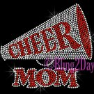 Cheer Megaphone RED Mom - Rhinestone Iron on Transfer Hot Fix Bling Sports - DIY