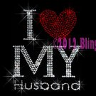 I Love My Husband - Red Heart - Rhinestone Iron on Transfer Hot Fix Bling - DIY