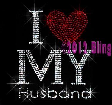 I Love My Husband - Red Heart - Rhinestone Iron on Transfer Hot Fix Bling - DIY