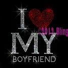 I Love My Boyfriend - Red Heart - Rhinestone Iron on Transfer Hot Fix Bling Boy Friend - DIY