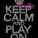Keep Calm and Play On - BASEBALL - Rhinestone Iron on Transfer Hot Fix Bling School Sport Mom - DIY