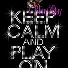 Keep Calm and Play On - FOOTBALL - Rhinestone Iron on Transfer Hot Fix Bling School Sport Mom - DIY