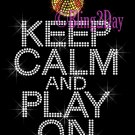 Keep Calm and Play On - SOFTBALL - Rhinestone Iron on Transfer Hot Fix Bling School Sport Mom - DIY