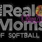 The Real Moms of - SOFTBALL - Rhinestone Iron on Transfer Hot Fix Bling School Sport - DIY