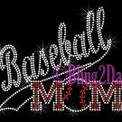 Baseball Mom - Banner Tail - SLANT - Iron on Rhinestone Transfer Hot Fix Bling School Sport Mom