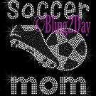 Soccer Mom - Kicking the Ball - Iron on Rhinestone Transfer Hot Fix Bling School Sport Mom - DIY